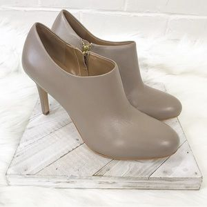 {Ann Taylor} Taupe/Nude Heeled Leather Booties